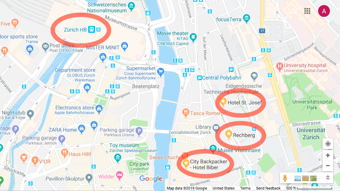 Google map showing the city of Zurich. The main train station, hotel st. josef, the city backpacker hostel and Rechberg 1837 restaurant are all circled